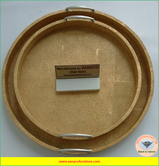 Faux shagreen round trays