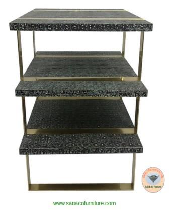 Sanaco faux turtle table with brass legs-The 3-shelf table