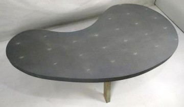 Faux Shagreen coffee coffee table in kidney shape