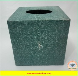 Square Faux Shagreen Tissue Box in TURQUOISE color