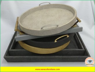 Collection of faux shagreen trays