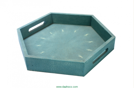 Faux shagreen hex tray