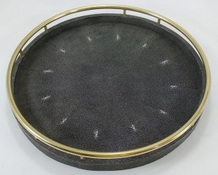 Faux Shagreen round tray with circle brass handles in Seal color