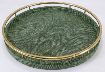 Faux Boa skin round tray with circle brass handles in Moss Green color