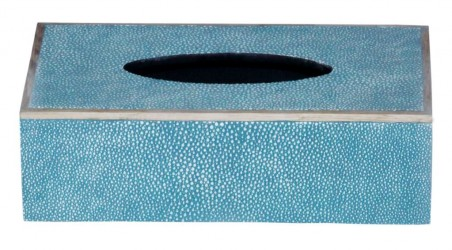 Rectangular Faux Shagreen Tissue Box in TURQUOISE