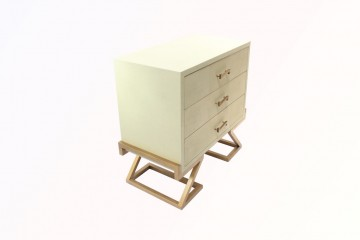Faux shagreen nightstand